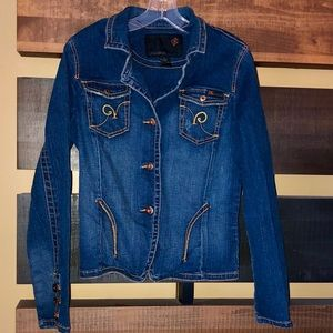 ROCAWEAR Denim Jacket Blazer with gold embroidery